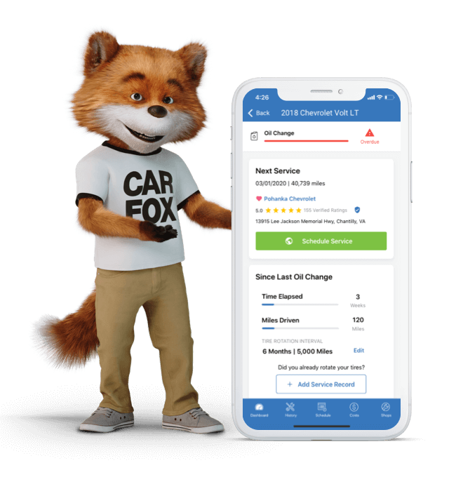 Fox gesturing at a screenshot of the Car Care App